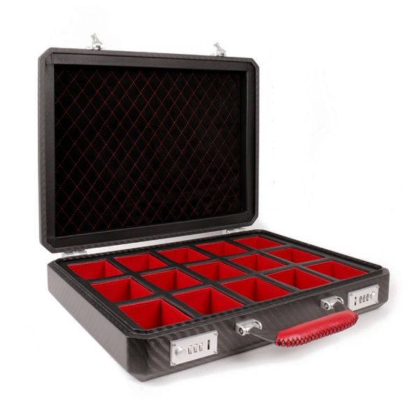 TecknoMonster - Cavok Watchcase - 15 Watches - Briefcase in Opaque Carbon Fiber and Leather - Red - Luxury Collection