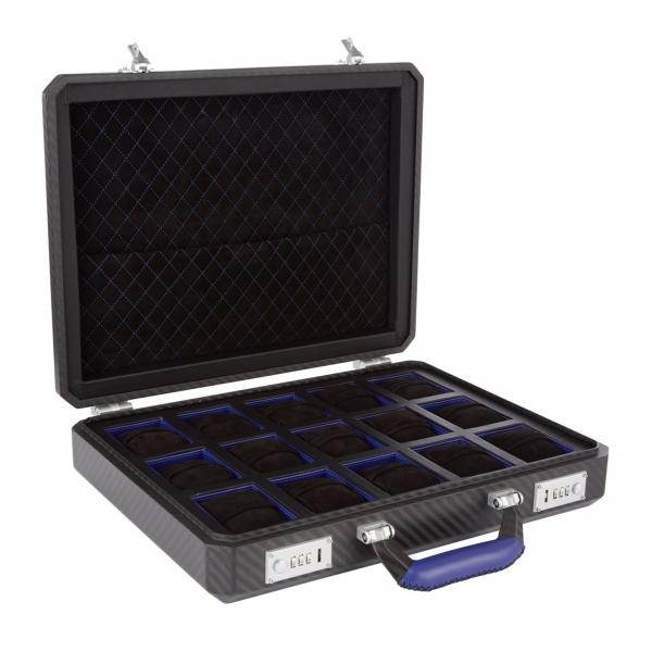 TecknoMonster - Cavok Watchcase - 15 Orologi - Valigetta in Fibra di Carbonio e Pelle - Blu - Luxury Collection