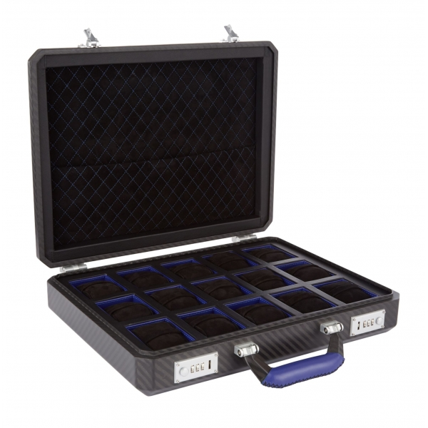 TecknoMonster - Cavok Watchcase - 15 Watches - Briefcase in Opaque Carbon Fiber and Leather - Blue - Luxury Collection