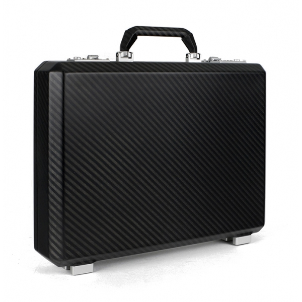 TecknoMonster - Cavok Opaque - Business Case - Valigetta in Fibra di Carbonio e Pelle - Nera - Luxury Collection