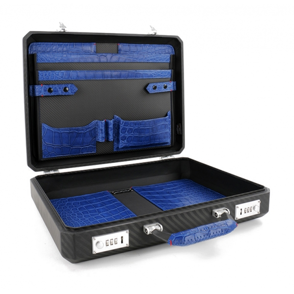 TecknoMonster - Cavok Opaque - Business Case - Briefcase in Opaque Carbon Fiber and Leather Crocodile - Blue - Luxury Collection