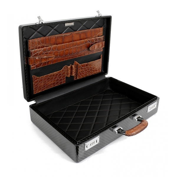 TecknoMonster - Amaya L - Business Case - Briefcase in Carbon Fiber and Leather Crocodile - Brown - Luxury Collection