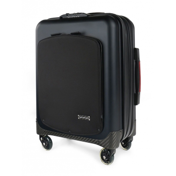 TecknoMonster - Trolley Akille Flap Black in Carbon Fiber - Aeronautical Carbon Trolley Suitcase