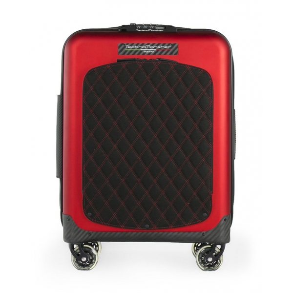 TecknoMonster - Trolley Akille Flap Red in Carbon Fiber - Aeronautical Carbon Trolley Suitcase