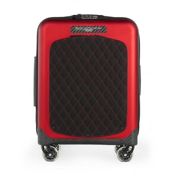 TecknoMonster - Valigia Akille Flap Red in Fibra di Carbonio - Trolley in Carbonio Aeronautico