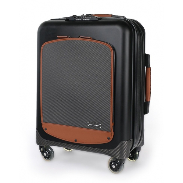 TecknoMonster - Trolley Akille Flap Brown in Carbon Fiber - Aeronautical Carbon Trolley Suitcase