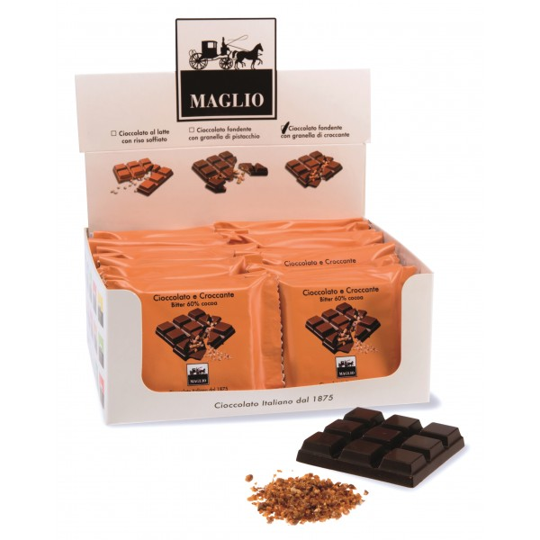 Cioccolato Maglio - Snack Bar - Chocolate with Nut Brittle - Bitter 60 % Cocoa