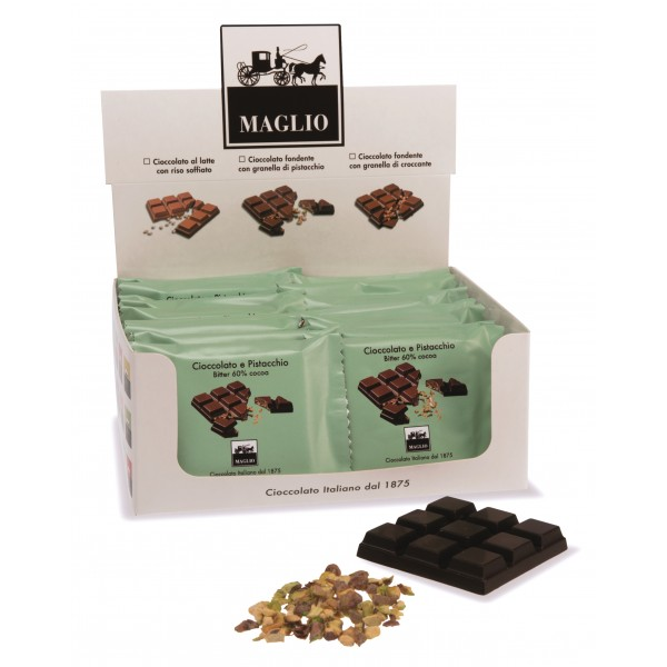 Cioccolato Maglio - Snack Bar - Chocolate with Pistachios - Bitter 60 % Cocoa