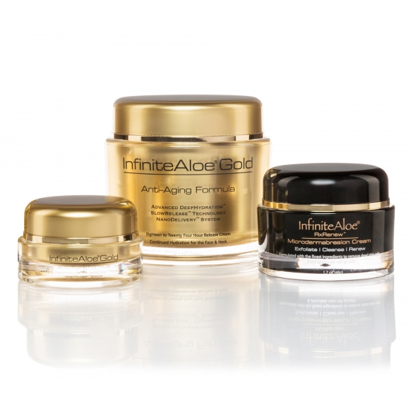 InfiniteAloe - Skin Care - Gold Anti-Aging & Microdermabrasion Formula - Creme Luxury Biologiche - Aloe Vera - Cruelity Free