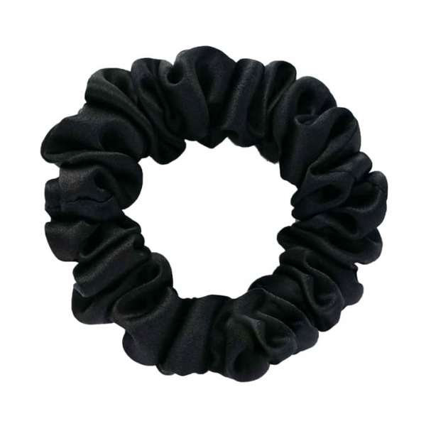 by Dariia Day - Silk Scrunchie - Midnight Black - Fashion - Accessories - Mulberry Silk - Artisan Silk Scrunchie - Luxury