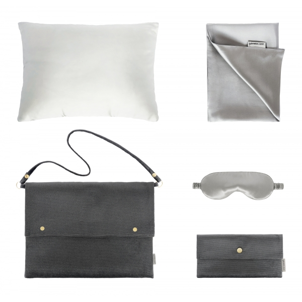 by Dariia Day - Silk Travel Set - Silver Grey - Bedding - Home - Mulberry Silk - Artisan Silk Pillowcase - Luxury