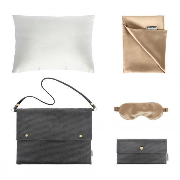 by Dariia Day - Silk Travel Set - French Beige - Bedding - Home - Mulberry Silk - Artisan Silk Pillowcase - Luxury