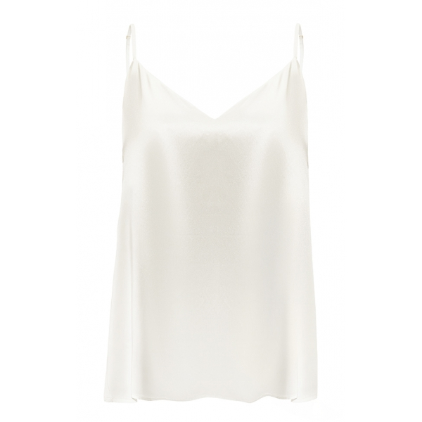 by Dariia Day - Silk Top - Powder White - Fashion - New Collection - Mulberry Silk - Artisan Silk Top - Luxury