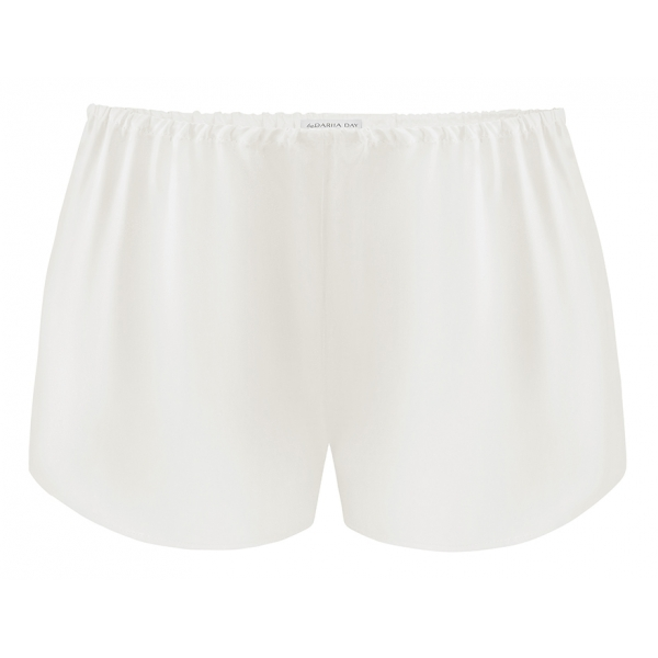 by Dariia Day - Silk Shorts - Powder White - Fashion - New Collection - Mulberry Silk - Artisan Silk Shorts - Luxury