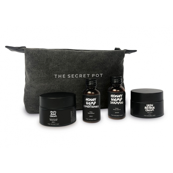 The Secret Pot - Hemp Travel Kit - Miele, Aloe, Acido Ialuronico e Canapa - Timeless - Anti Age - Hair Care