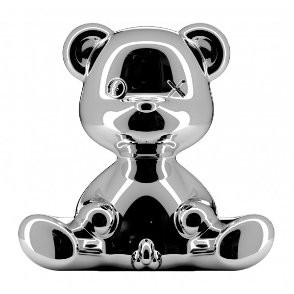Qeeboo - Teddy Boy Lamp Metal Finish - Silver - Qeeboo Table Standing Lamp by Stefano Giovannoni - Lighting - Home