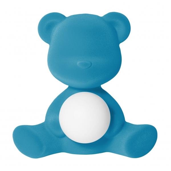 Qeeboo - Teddy Girl Rechargeable Lamp Velvet Finish - Azzurro - Lampada by Stefano Giovannoni - Illuminazione - Casa