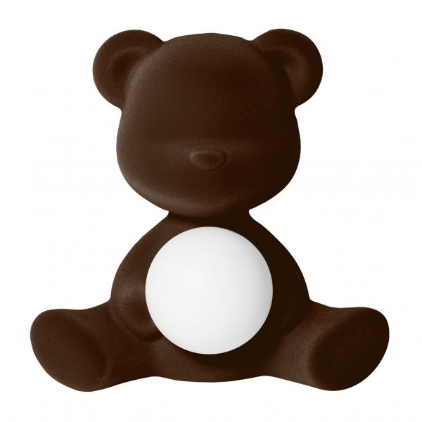Qeeboo - Teddy Girl Rechargeable Lamp Velvet Finish - Marrone Scuro - Lampada by Stefano Giovannoni - Illuminazione - Casa