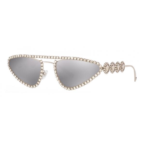 Versace - Occhiale da Sole Signature Medusa Crystal - Argento - Occhiali da Sole - Versace Eyewear