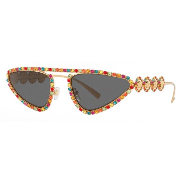 Versace - Occhiale da Sole Signature Medusa Crystal - Oro - Occhiali da Sole - Versace Eyewear