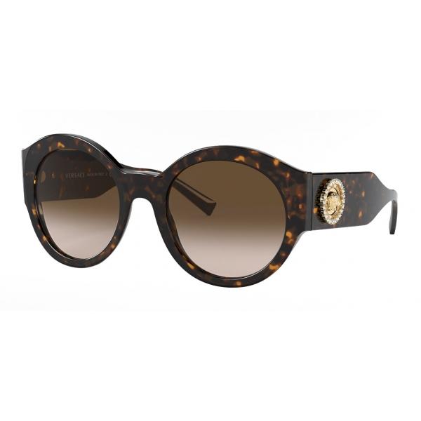 Versace - Occhiale da Sole Round Medusa Crystal - Marrone - Occhiali da Sole - Versace Eyewear