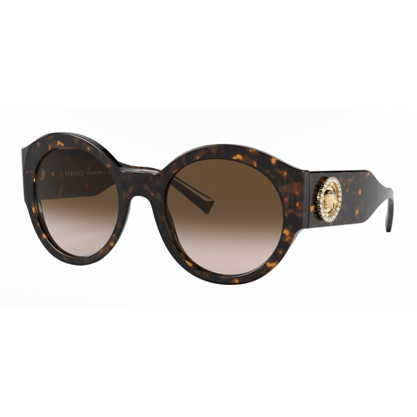 Versace - Sunglasses Round Medusa Crystal - Brown - Sunglasses - Versace Eyewear