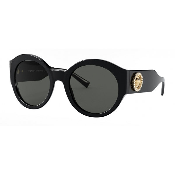 Versace - Occhiale da Sole Round Medusa Crystal - Nero - Occhiali da Sole - Versace Eyewear