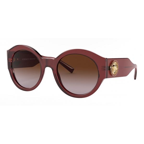 Versace - Occhiale da Sole Round Medusa Crystal - Bordeaux - Occhiali da Sole - Versace Eyewear