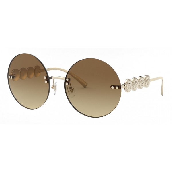 Versace - Occhiale da Sole Rotondi Signature Medusa - Oro Chiaro - Occhiali da Sole - Versace Eyewear