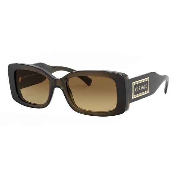 Versace - Occhiale da Sole con Logo 90s Vintage - Verde Trasparente - Occhiali da Sole - Versace Eyewear