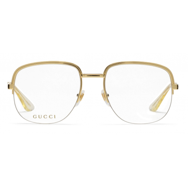 Gucci - Square Metal Sunglasses - Gold - Gucci Eyewear