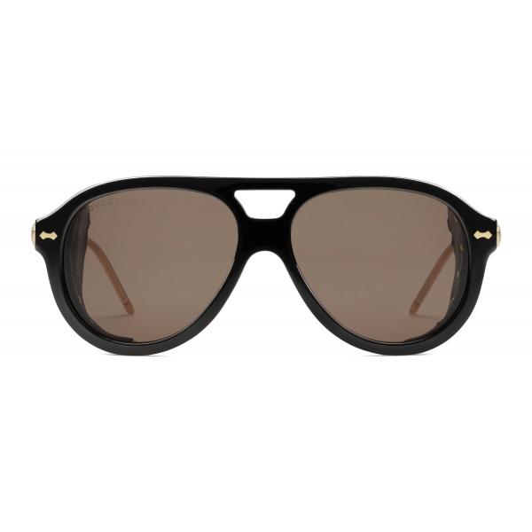 Gucci - Aviator Sunglasses with Blinkers - Black - Gucci Eyewear