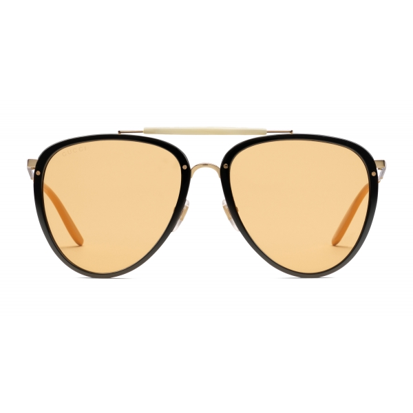 Gucci - Aviator Acetate and Metal Sunglasses - Black Gold - Gucci Eyewear