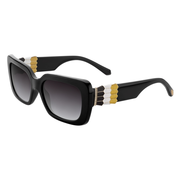 Bulgari - Serpenti - Back-to-Scale Rectangular Sunglasses - Black - Serpenti Collection - Sunglasses - Bulgari Eyewear