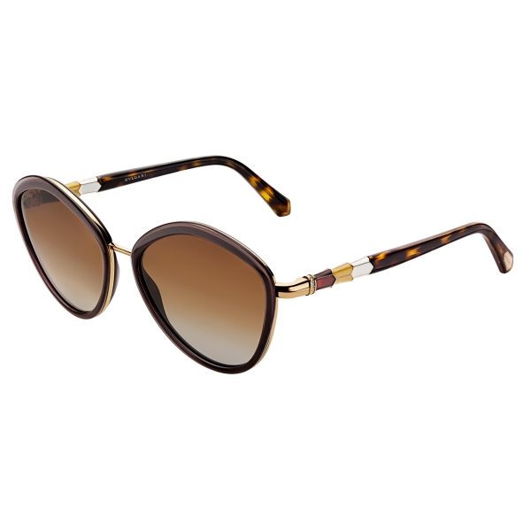 Bulgari - Serpenti - Rounded Sunglasses - Brown - Serpenti Collection - Sunglasses - Bulgari Eyewear