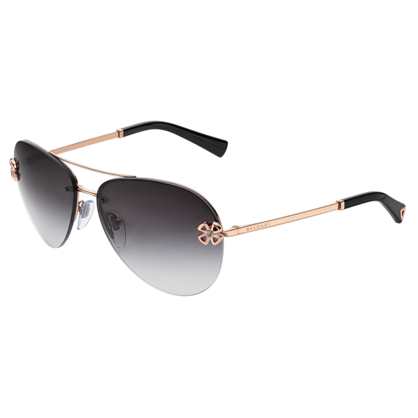 Bulgari - Fiorever - Double Bridge Aviator Sunglasses - Black - Fiorever Collection - Sunglasses - Bulgari Eyewear