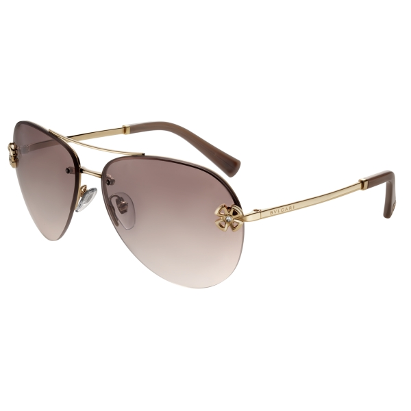 Bulgari - Fiorever - Double Bridge Aviator Sunglasses - Bronze - Fiorever Collection - Sunglasses - Bulgari Eyewear