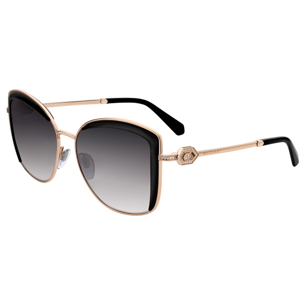 Bulgari - Serpenti - Squared Sunglasses with Crystals - Black Gold - Serpenti Collection - Sunglasses - Bulgari Eyewear