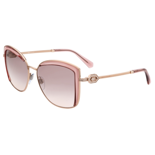 Bulgari - Serpenti - Squared Sunglasses with Crystals - Pink Gold - Serpenti Collection - Sunglasses - Bulgari Eyewear