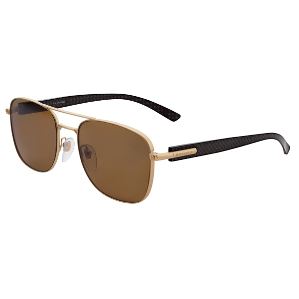 Bulgari - Diagono - Rectangular Sunglasses with Double Bridge - Brown - Diagono Collection - Sunglasses - Bulgari Eyewear