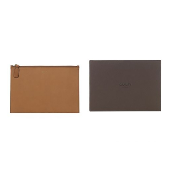 Culti Milano - Leather Pochette - Cognac - Medium - Fashion - Room Fragrances - Fragrances - Luxury