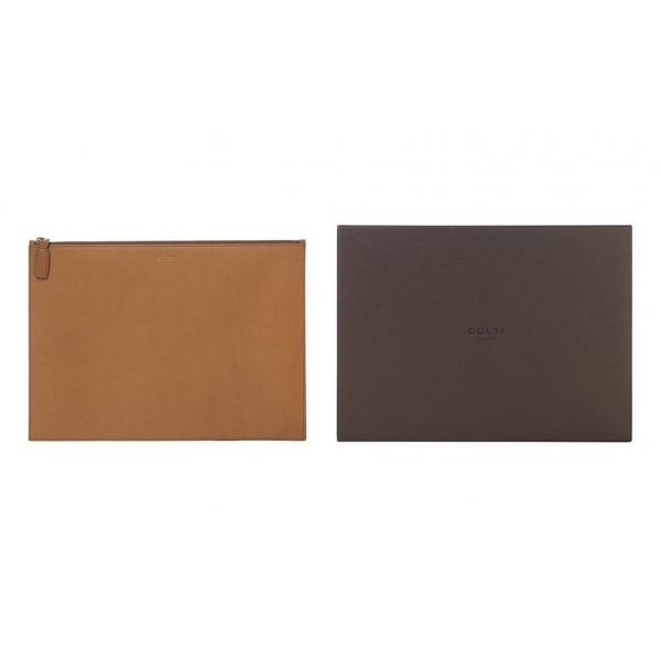 Culti Milano - Leather Pochette - Cognac - Large - Fashion - Room Fragrances - Fragrances - Luxury