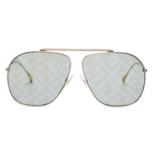 Fendi - FF Family - Occhiali da Sole Pilota Oversize - Oro Verde - Occhiali da Sole - Fendi Eyewear