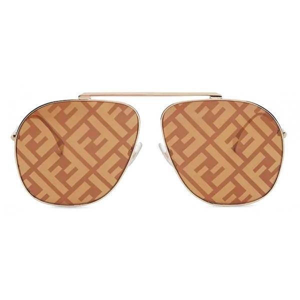 Fendi - FF Family - Occhiali da Sole Pilota Oversize - Oro Marrone - Occhiali da Sole - Fendi Eyewear