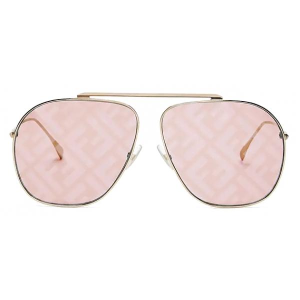 Fendi - FF Family - Occhiali da Sole Pilota Oversize - Oro Rosa - Occhiali da Sole - Fendi Eyewear