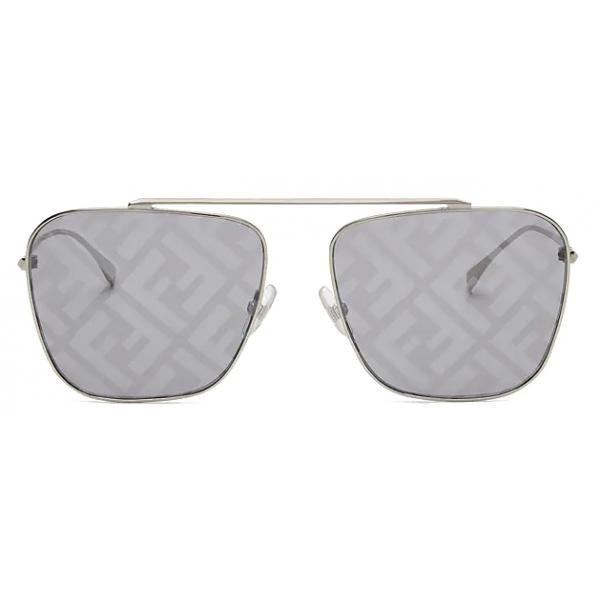Fendi - FF Family - Occhiali da Sole Squadrati Caravan - Oro Grigio - Occhiali da Sole - Fendi Eyewear