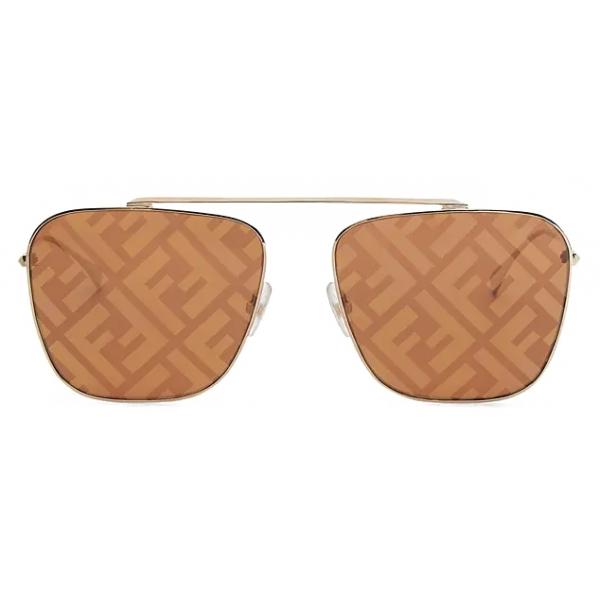 Fendi - FF Family - Occhiali da Sole Squadrati Caravan - Oro Marrone - Occhiali da Sole - Fendi Eyewear