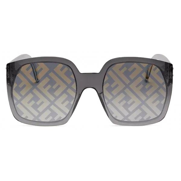 Fendi - Fendi Dawn - Occhiali da Sole Squadrata Oversize - Nero - Occhiali da Sole - Fendi Eyewear