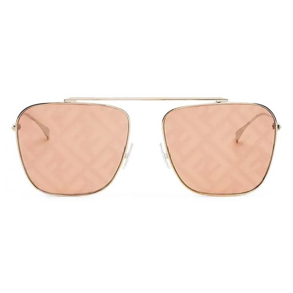 Fendi - FF Family - Occhiali da Sole Squadrata Caravan - Oro Arancione - Occhiali da Sole - Fendi Eyewear