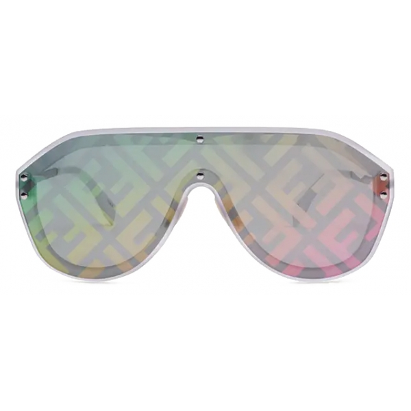 Fendi - Fendi Fabulous - Occhiali da Sole Maschera - Bianco Grigio - Occhiali da Sole - Fendi Eyewear